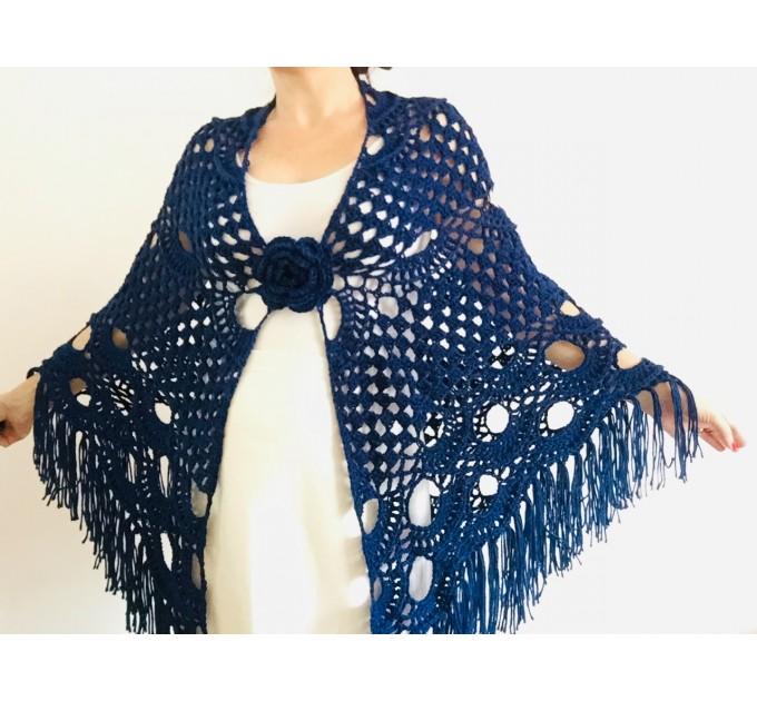 Royal Blue cashmere bridе shawl winter wedding shawl alpaca triangle shawl wedding cape bridesmaid shawl bride cover up anniversary gift  Mohair / Alpaca  4