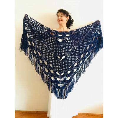 Royal Blue Bridal Shawl Triangle Cashmere Shawl Fringe Bridesmaid gift Boho Wedding capelet shawl winter