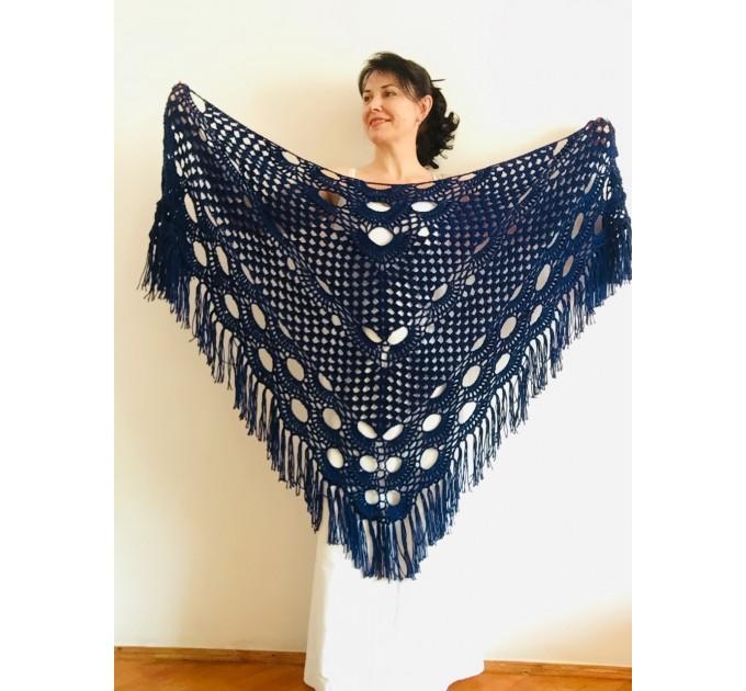 Royal Blue cashmere bridе shawl winter wedding shawl alpaca triangle shawl wedding cape bridesmaid shawl bride cover up anniversary gift  Mohair / Alpaca  2