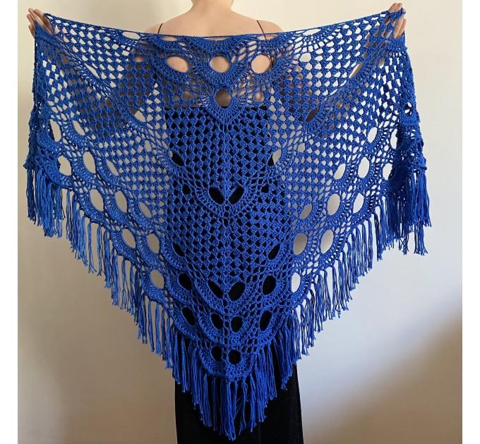 Royal Blue cashmere bridе shawl winter wedding shawl alpaca triangle shawl wedding cape bridesmaid shawl bride cover up anniversary gift  Mohair / Alpaca