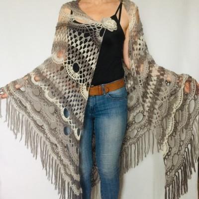 Light Gray Triangle Shawl Fringe, Blue Plus Size Poncho Women Alpaca, Hand knit Mohair Crochet Wool Warm Large Scarf White Black Green Pink