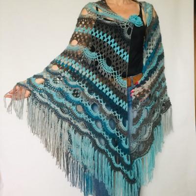 Blue alpaca shawl fringe ombre spider shawl black halloween shawl triangle wrap plus size gradient shawl purple alternative shawl