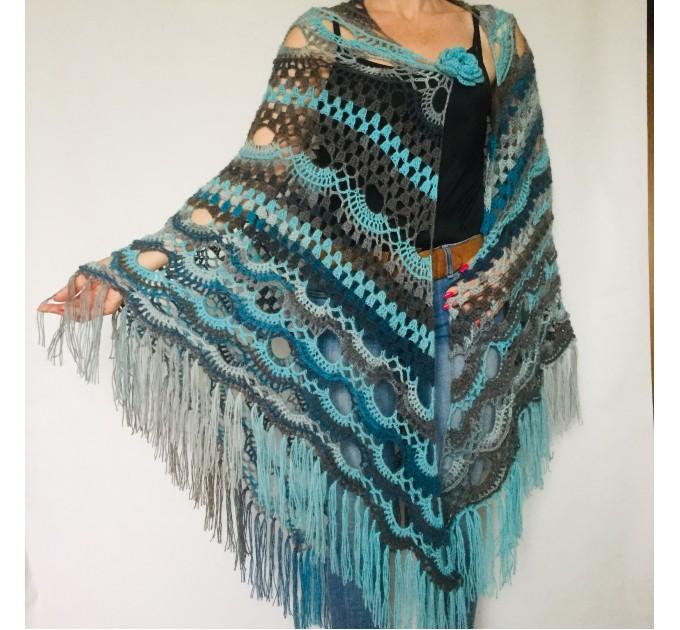 Blue alpaca shawl fringe ombre spider shawl black halloween shawl triangle wrap plus size gradient shawl purple alternative shawl  Mohair / Alpaca