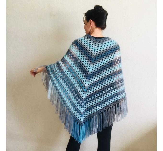 Blue wool poncho Alpaca Plus Size Poncho Women, Hand knit Crochet Wool Warm Triangle Poncho Blue White Gray Black   Mohair / Alpaca  3