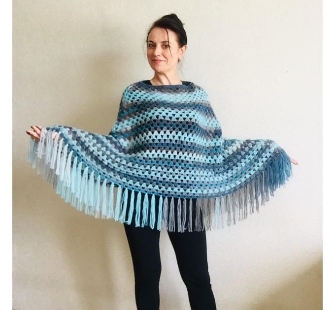 Blue wool poncho Alpaca Plus Size Poncho Women, Hand knit Crochet Wool Warm Triangle Poncho Blue White Gray Black   Mohair / Alpaca  4