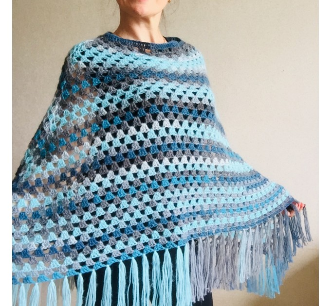 Blue wool poncho Alpaca Plus Size Poncho Women, Hand knit Crochet Wool Warm Triangle Poncho Blue White Gray Black   Mohair / Alpaca  5