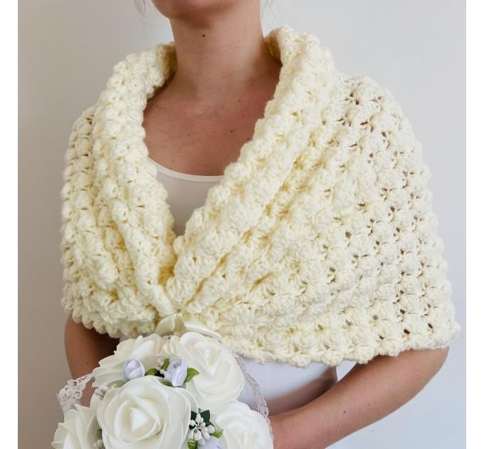 White shrug bridal bolero bridesmaid shawl ivory wedding stole bridal cape white bridal wrap bride cover up bridal party shawl wedding cape  Bolero / Shrug  5
