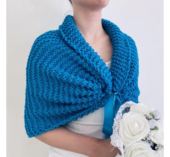 Turquoise bridal shawl wool wedding shrug bridal party shawl wedding capelet bridesmaid shrug bride bolero bride capelet bridal stole  Bolero / Shrug