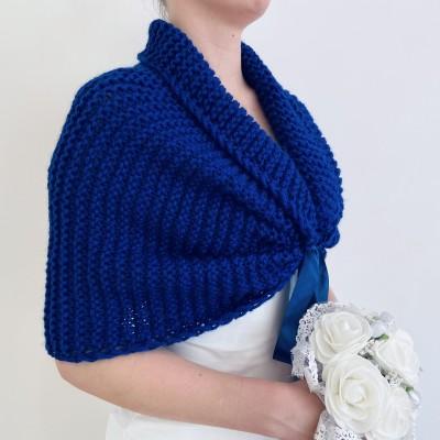 Blue bridesmaid shawl, bridal shrug bridal bolero, bridal cape, off shoulder tribal shawl bridal capelet, bride jacket