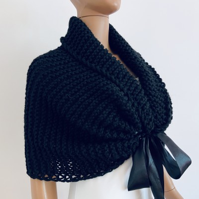 Black bridal shrug wool wedding stole bridal knit wrap bride shawl winter short sleeve shrug bridal bolero wedding cape bridesmaid shawl