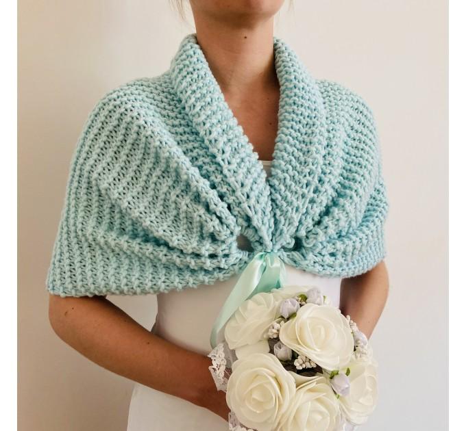 Turquoise bridal shawl wool wedding shrug bridal party shawl wedding capelet bridesmaid shrug bride bolero bride capelet bridal stole  Bolero / Shrug  14