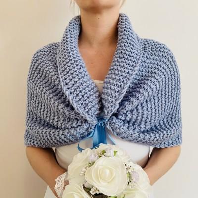 Light blue bolero wool bridal shrug crochet bolero shrug bridal bolero wedding cape short sleeve shrug bride shawl winter wedding stole