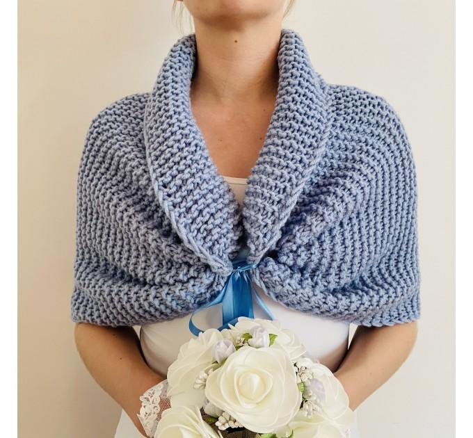 Turquoise bridal shawl wool wedding shrug bridal party shawl wedding capelet bridesmaid shrug bride bolero bride capelet bridal stole  Bolero / Shrug  4