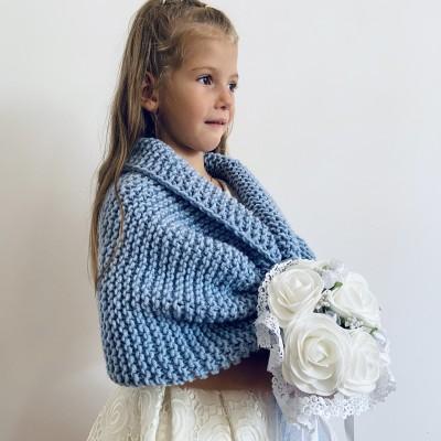 Light blue little girls bolero flower girl shawl kids shrug royal blue communion wrap childs shrug kids cape winter wedding shawl