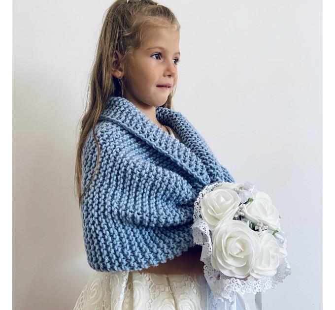 Light blue little girls bolero flower girl shawl kids shrug royal blue communion wrap childs shrug kids cape winter wedding shawl  Bolero / Shrug