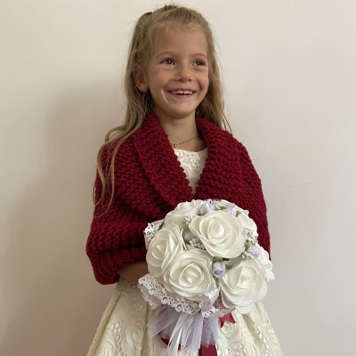 Bordo Flower girl shawl kids bolero childs bolero burgundy communion shrug winter wedding kids shrug little girls bolero kids cape
