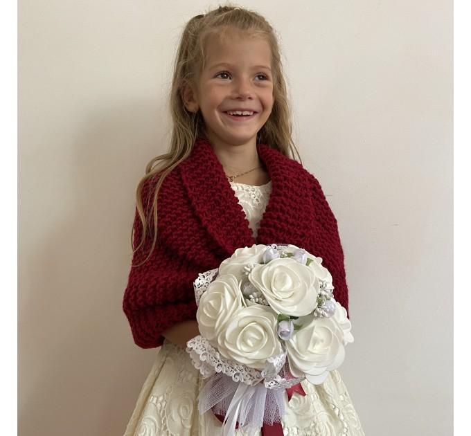 Light blue little girls bolero flower girl shawl kids shrug royal blue communion wrap childs shrug kids cape winter wedding shawl  Bolero / Shrug  4