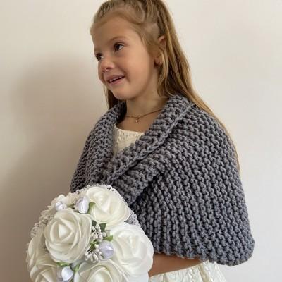 Gray flower girl shawl winter childs bolero wedding kids shrug communion shrug kids bolero little girls bolero kids cape childs shrug