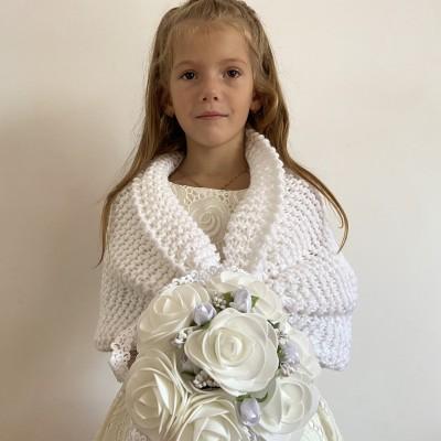 White shrug little girls bolero flower girl shawl ivory kids wedding wrap cream children shawl communion shrug shawl for children