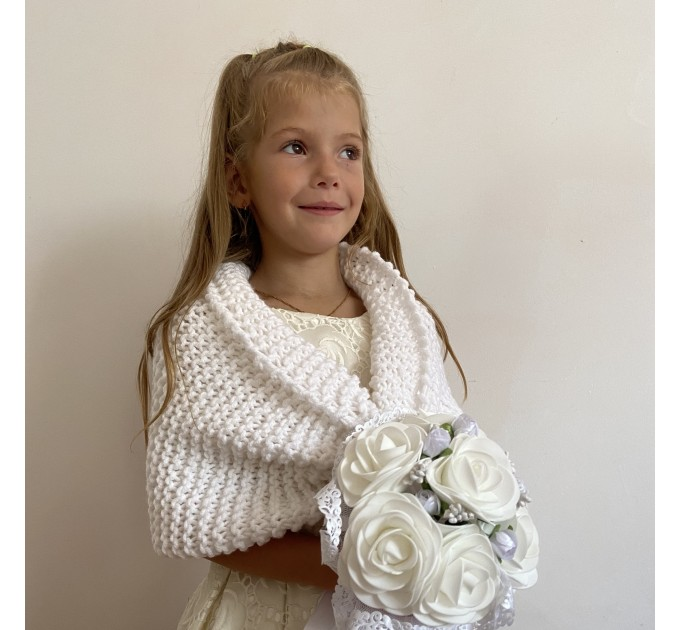 Light blue little girls bolero flower girl shawl kids shrug royal blue communion wrap childs shrug kids cape winter wedding shawl  Bolero / Shrug  6