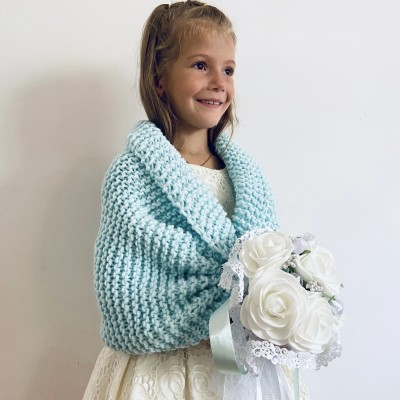 Mint flower girl shawl shrug winter wedding kids shrug childs bolero communion shrug kids bolero little girls bolero kids cape childs shrug