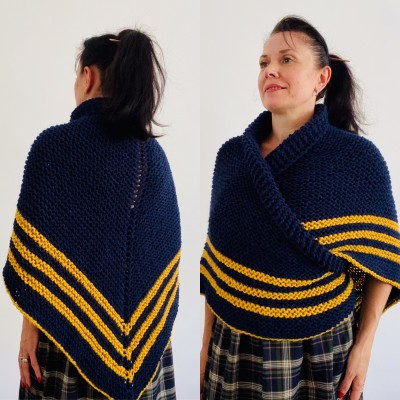 Dark Blue Outlander rent Shawl Wool Triangle winter sontag shawl Mohair Knit warm shoulder Claire Fraser anniversary gift Mom Sister