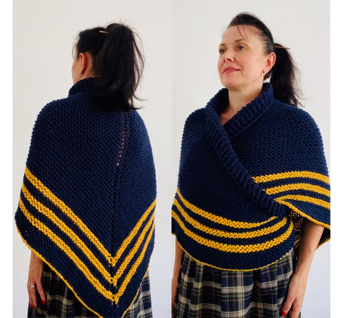 Dark Blue Outlander rent Shawl Wool Triangle winter sontag shawl Mohair Knit warm shoulder Claire Fraser anniversary gift Mom Sister  Shawl Wool Mohair