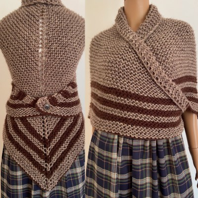 Brown Outlander Inspired Claire Shawl rent Carolina Shawl Triangle Wool Sontag Brown warm cowl Shoulders wrap