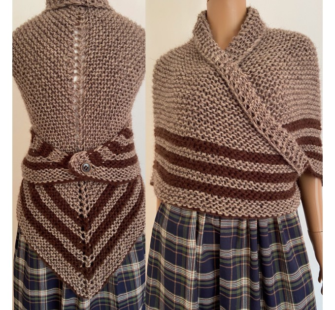 Brown Outlander Inspired Claire Shawl rent Carolina Shawl Triangle Wool Sontag Brown warm cowl Shoulders wrap  Shawl Wool Mohair