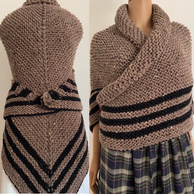 Brown Outlander Claire Shawl Knit Wrap Alpaca, Wool sontag shawl Triangle Shawl for Mom Her Mohair warm shoulder wrap Inspired Claire's Carolina