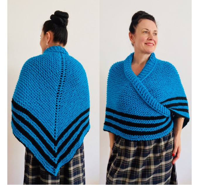 Turquoise Claire Outlander Shawl Wool Triangle Shawl celtic sontag shawl Mohair Knit warm shoulder anniversary gift Mom Her Sister   Shawl Wool Mohair