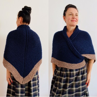 Blue rent Claire Outlander shawl wool triangle shawl knit shoulder wrap celtic sontag scottish shawl anniversary gift wife mom