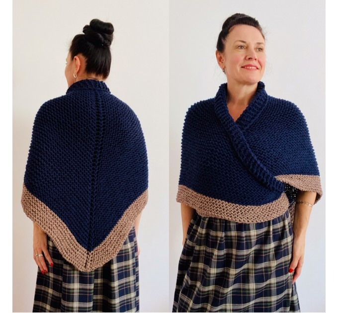 Blue rent Claire Outlander shawl wool triangle shawl knit shoulder wrap celtic sontag scottish shawl anniversary gift wife mom  Shawl Wool Mohair