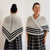 White Claire Outlander Shawl Knit Wrap Alpaca, Mohair warm shoulder wrap Triangle Wool sontag Shawl anniversary gift Mom Her