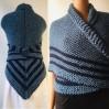 Navy blue Outlander Claire rent shawl sontag celtic shawl petrol triangle wool shawl knit shoulder wrap Carolina Shawl Fraser's Ridge winter shawl
