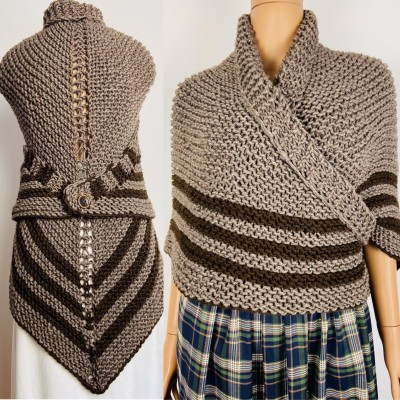 Brown Outlander shawl knit wrap Claire celtic shawl winter sontag triangle wool shawl inspired Outlander Carolina Shawl Claire Fraser shawl