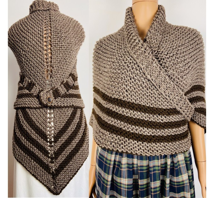Brown Outlander shawl knit wrap Claire celtic shawl winter sontag triangle wool shawl inspired Outlander Carolina Shawl Claire Fraser shawl  Shawl Wool Mohair