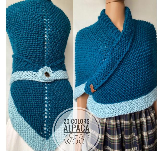 Gray Outlander Claire rent shawl triangle wool shawl sontag celtic shawl knit shoulder wrap Carolina Shawl Fraser's Ridge winter shawl  Shawl Wool Mohair  7