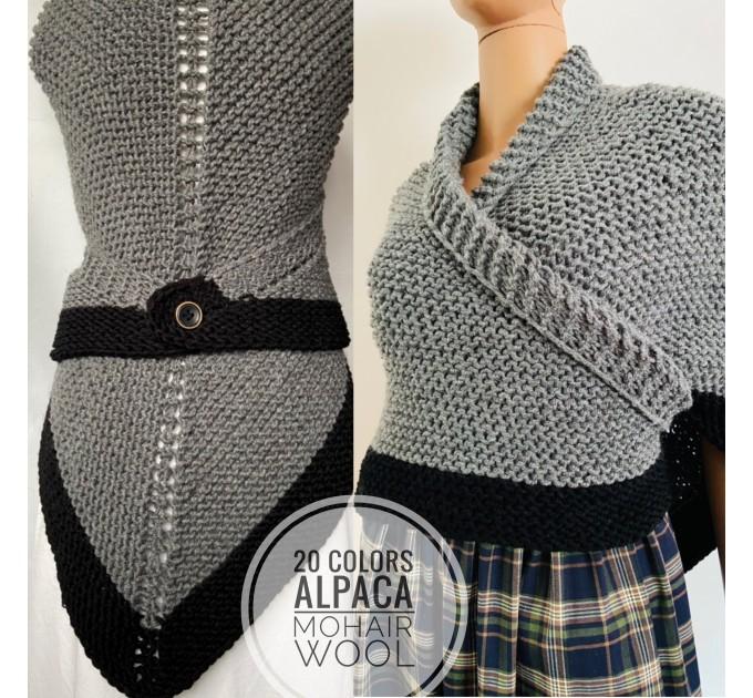 Gray Outlander Claire rent shawl triangle wool shawl sontag celtic shawl knit shoulder wrap Carolina Shawl Fraser's Ridge winter shawl  Shawl Wool Mohair  8