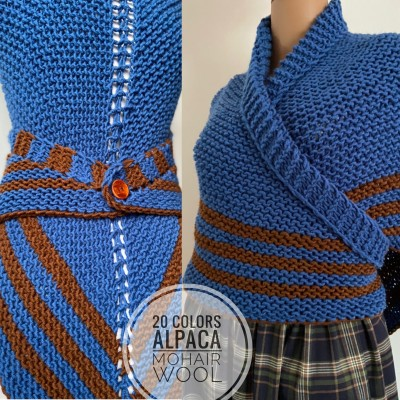 Blue Hand knitted outlander inspired rent shawl Carolina shawl blue wool triangle shawl celtic sontag shawl gift for mom her