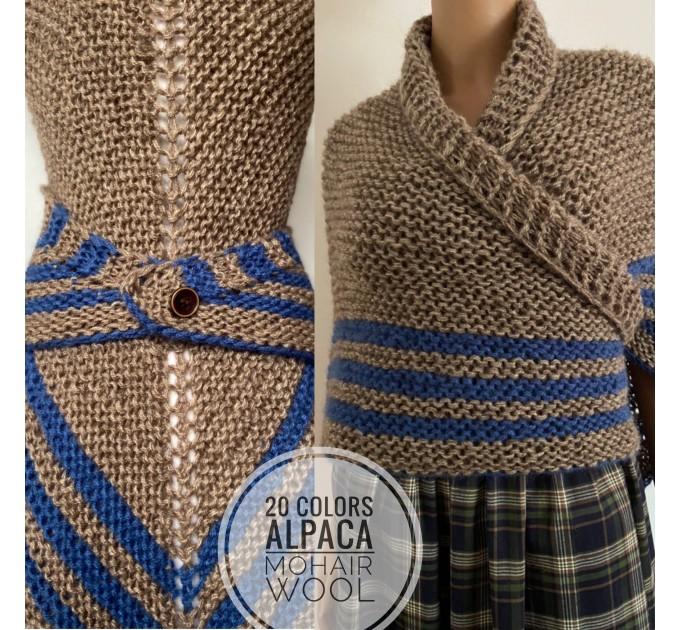 Gray Outlander Claire rent shawl triangle wool shawl sontag celtic shawl knit shoulder wrap Carolina Shawl Fraser's Ridge winter shawl  Shawl Wool Mohair  12