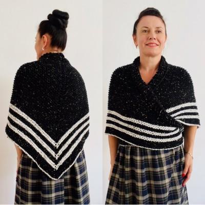 Black Claire Outlander rent Shawl Knit shoulder Wrap Alpaca, Mohair warm triangle wool shawl celtic sontag Shawl anniversary gift Mom Her