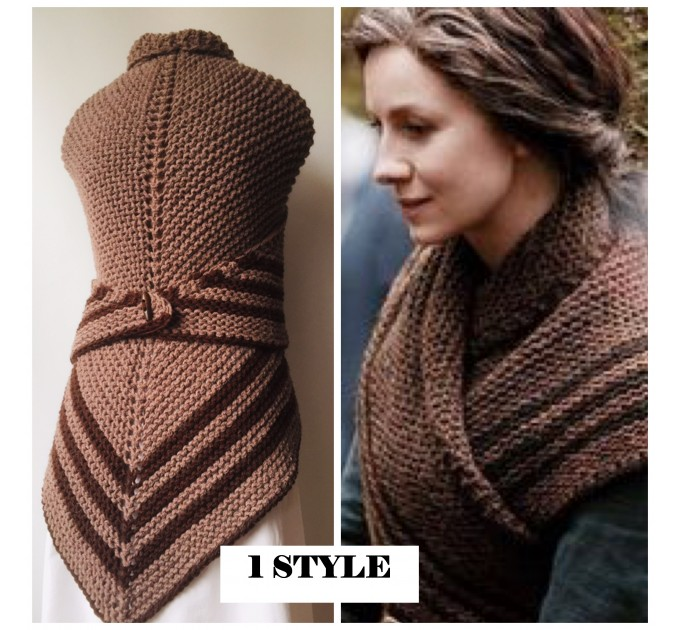 Gray 960 Triangle sontag shawl with button for fastening, Inspired Claire Carolina S4 Drums of Autumn Outlander Knit  Shawl Wool Mohair  8