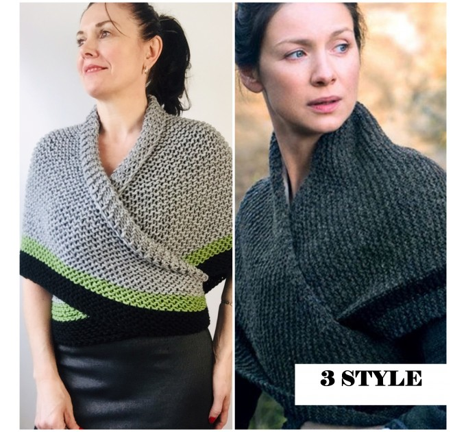 Gray 960 Triangle sontag shawl with button for fastening, Inspired Claire Carolina S4 Drums of Autumn Outlander Knit  Shawl Wool Mohair  10