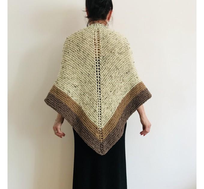 Ivory Outlander Shawl Alpaca, Beige Wool Triangle Shawl knit Brown Claire Shawl, Black Gray sontag shawl anniversary gift her wife mom  Shawl Alpaca  1