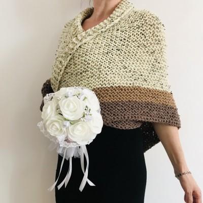 Ivory Outlander Shawl Alpaca, Beige Wool Triangle Shawl knit Brown Claire Shawl, Black Gray sontag shawl anniversary gift her wife mom