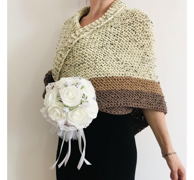 Ivory Outlander Shawl Alpaca, Beige Wool Triangle Shawl knit Brown Claire Shawl, Black Gray sontag shawl anniversary gift her wife mom  Shawl Alpaca