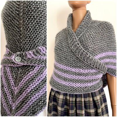 Claire Outlander shawl alpaca gray wool triangle shawl celtic sontag shawl hand crocheted shawl knit shoulder wrap anniversary gift wife mom