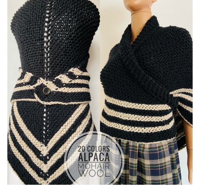 Brown Outlander rent shawl Claire Fraser knit shoulder wrap brown alpaca triangle shawl sontag shawl anniversary gift wife mom  Shawl Alpaca  1