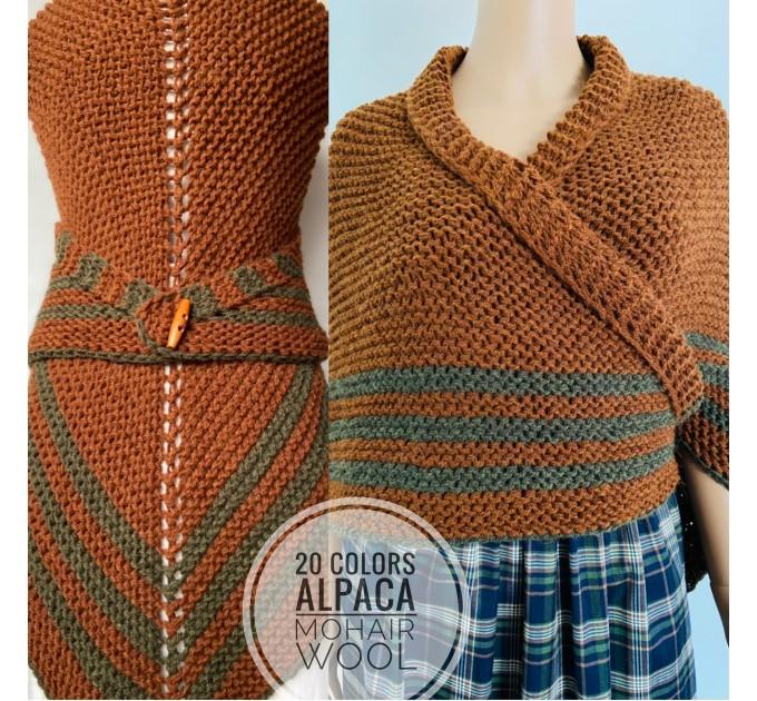 Brown Outlander rent shawl Claire Fraser knit shoulder wrap brown alpaca triangle shawl sontag shawl anniversary gift wife mom  Shawl Alpaca